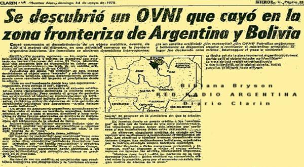 HACE 38 AÑOS CAYÓ UN OVNI EN LA FRONTERA ARGENTINA-BOLIVIANA